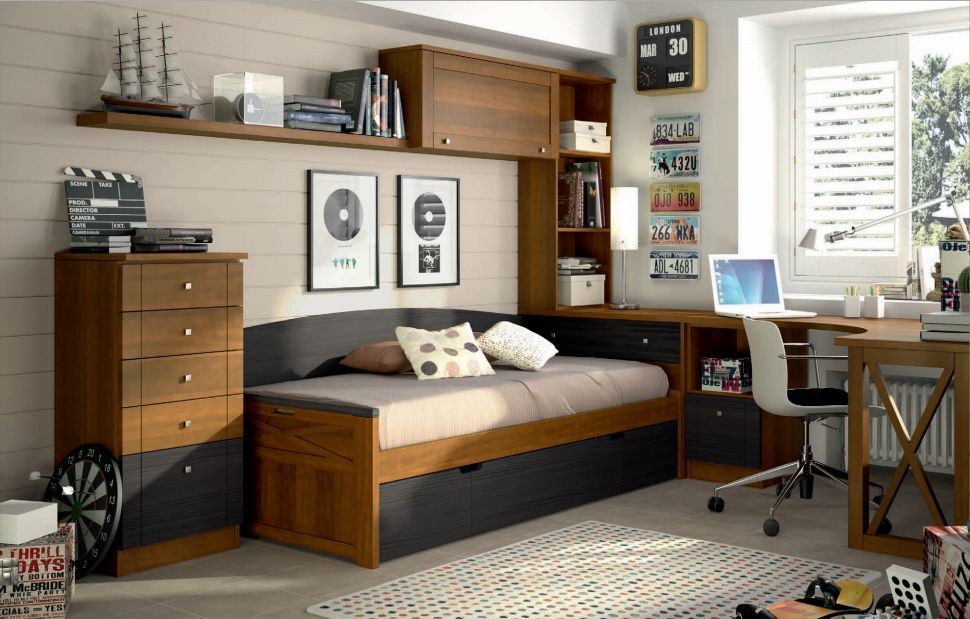 Dormitorios juveniles colonial madera muebles ib ez for Dormitorio blanco y madera
